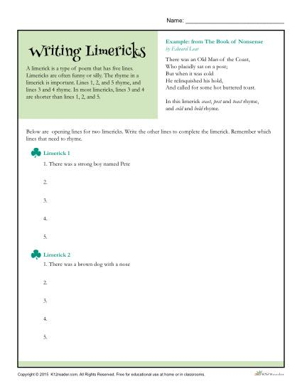 Printable Writing Limericks Activity - The Book of Nonsense