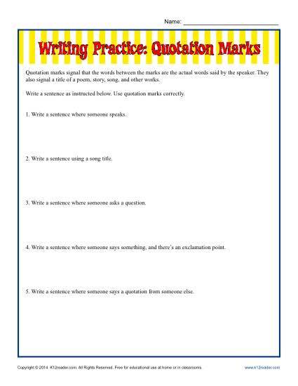 Writing Practice Worksheet - Using Quotation Marks