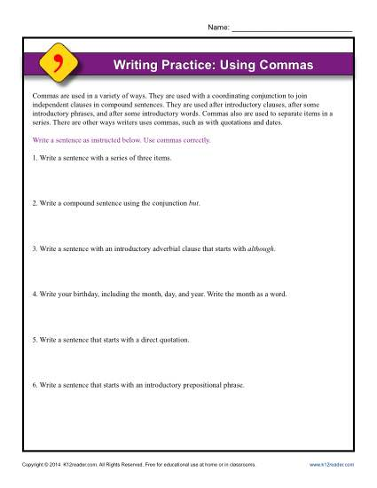 writing practice using commas punctuation worksheets. Black Bedroom Furniture Sets. Home Design Ideas