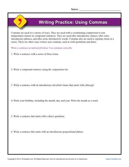 Writing Practice Worksheet - Using Commas