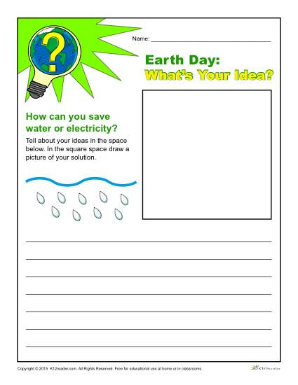 Earth Day Writing Prompt Whats Your Idea for Conservation
