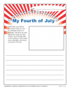 Printable Fourth of July Writing Prompt Activity - My 4th of July!