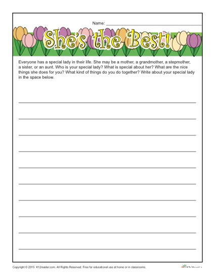 Mother S Day Worksheets 3rd Grade : Mother s day writing prompt she the best