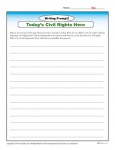 Today's Civil Rights Hero - Printable Writing Prompt activity