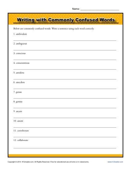 Writing with Commonly Confused Words
