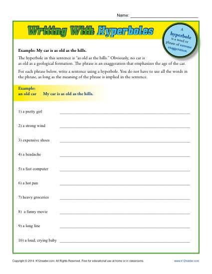Writing Worksheet Activity - Hyperbole