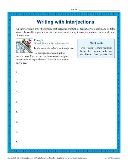 Writing with Interjections | 5th Grade Interjection Worksheets