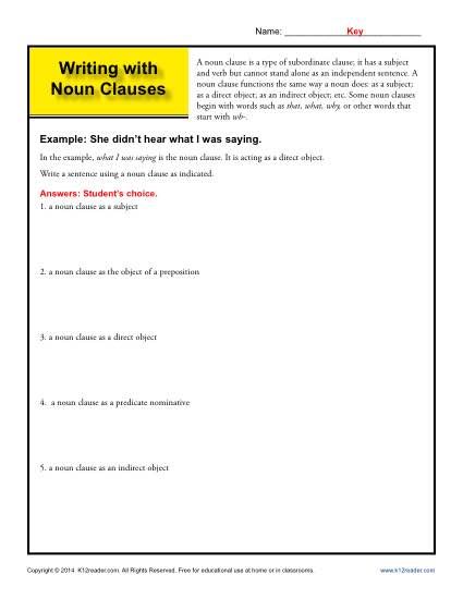 Writing with Noun Clauses - noun worksheets