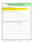 Writing Worksheet Activity - Personification
