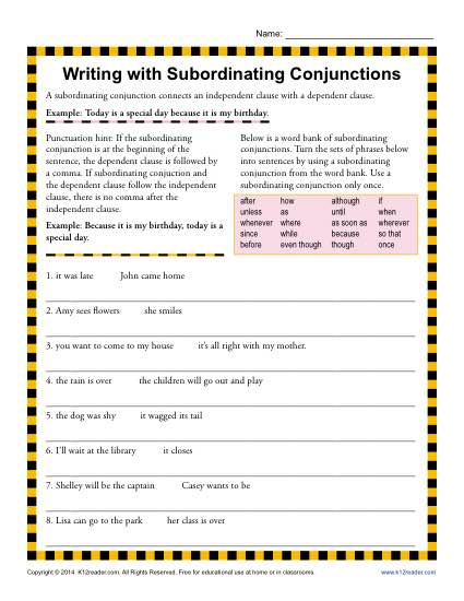 writing with subordinating conjunctions 3rd grade conjunction worksheets. Black Bedroom Furniture Sets. Home Design Ideas